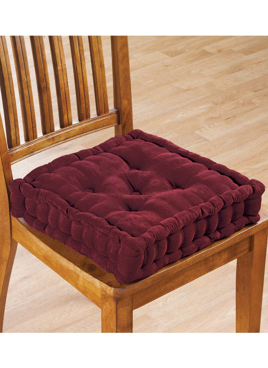 Tufted Booster Cushion, Color Burgundy