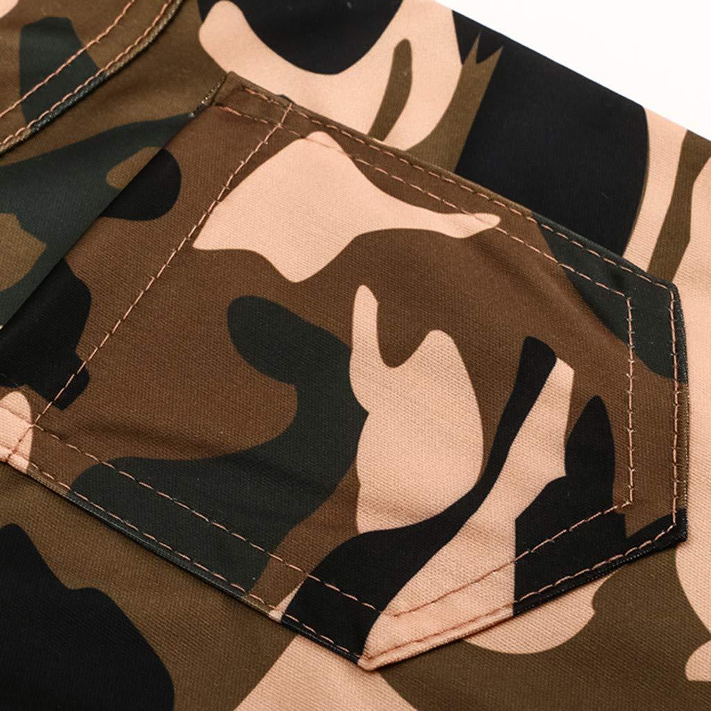 Pantalones Mujer Cintura Alta Camuflaje Militar Impreso Elastico Leggings Pantalones de Vendaje Casual Suelto Pantalones con Cord/ón Gusspower