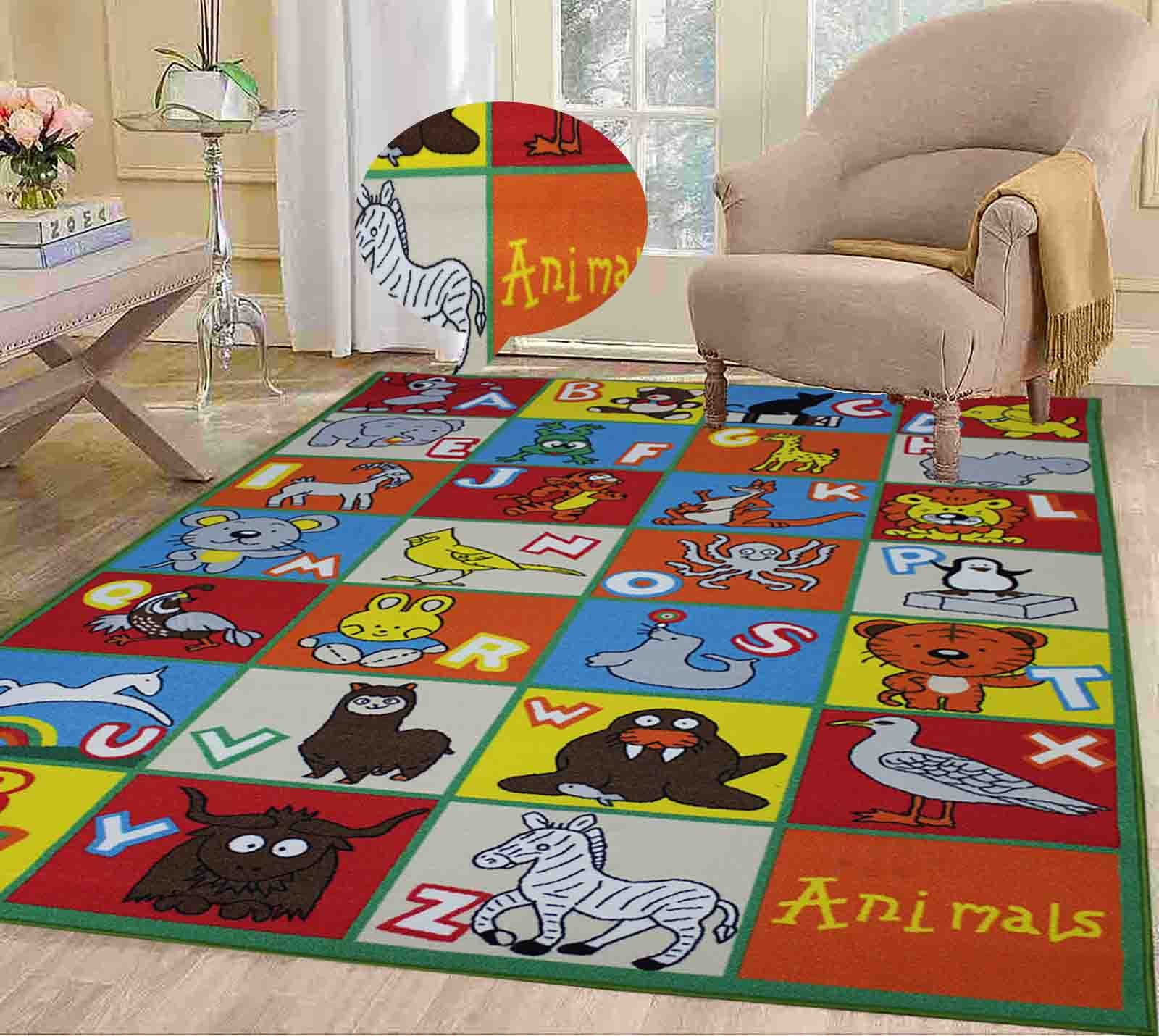 5x7 Kids Boys Children Toddler Playroom Rug Nursery Room Rug Bedroom Rug Fun Colorful ( Animal Alphabet )