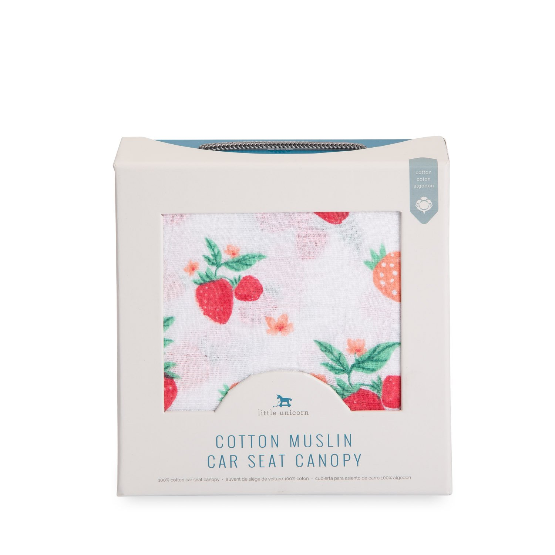 Amazon.com: Little Unicorn Cotton Muslin Car Seat Canopy - Strawberry: Baby