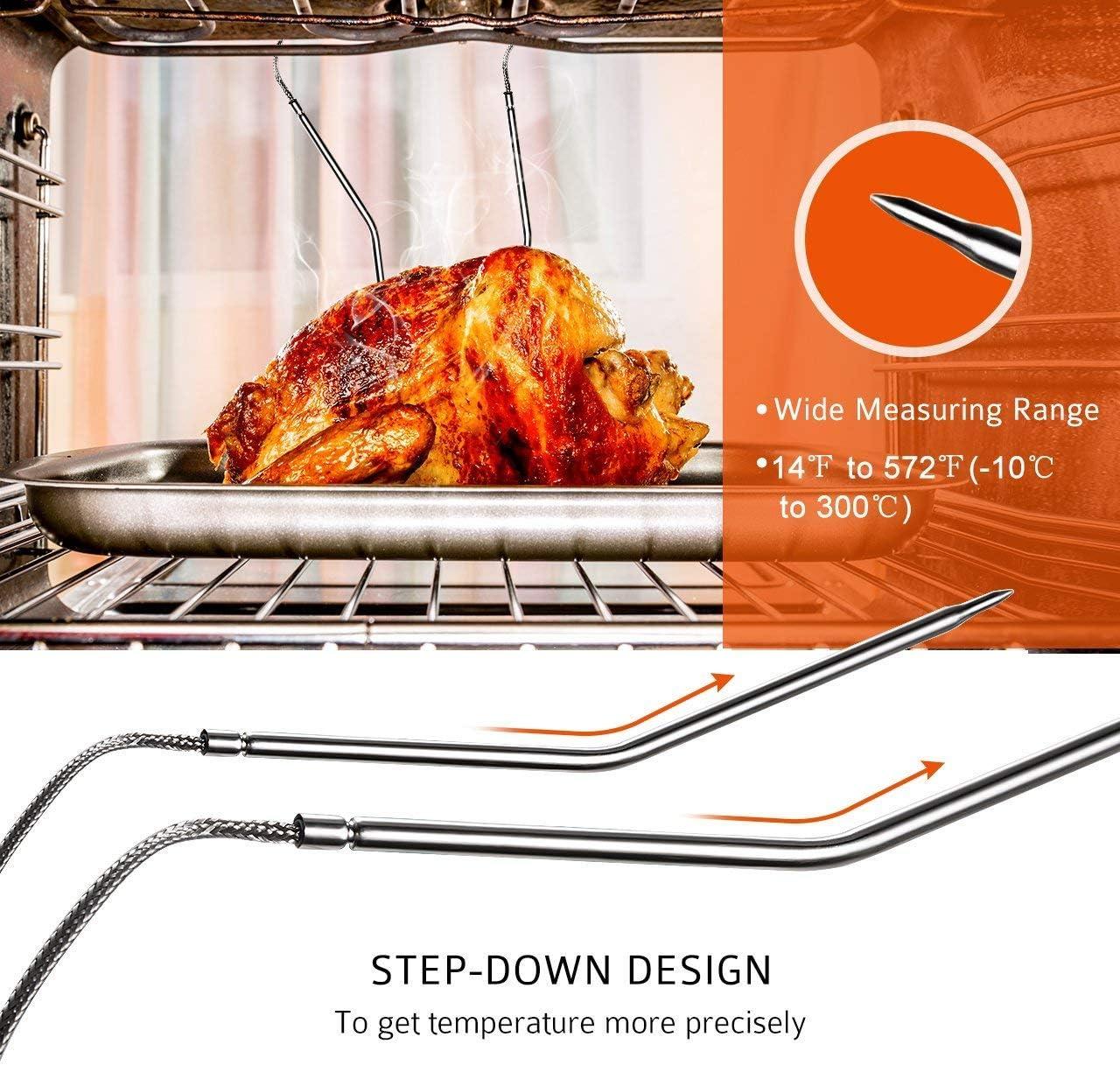Hezhu 160CM Termometro da Forno con Sonda al Calore Fino a 500/°C per BBQ Cucina