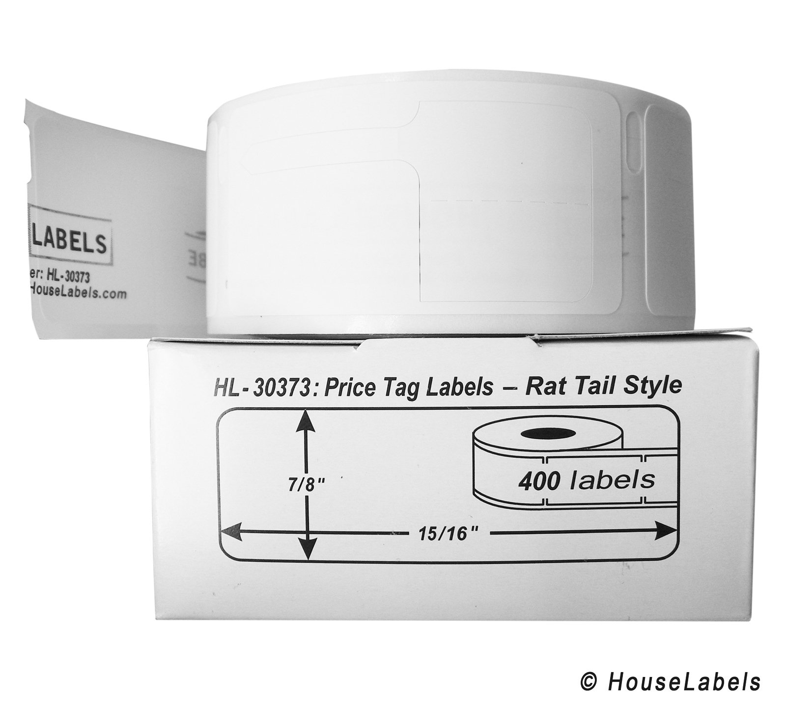 6 Rolls; 400 Labels per Roll of DYMO-Compatible 30373 Pricetag Labels (7/8'' x 15/16'') - BPA Free!