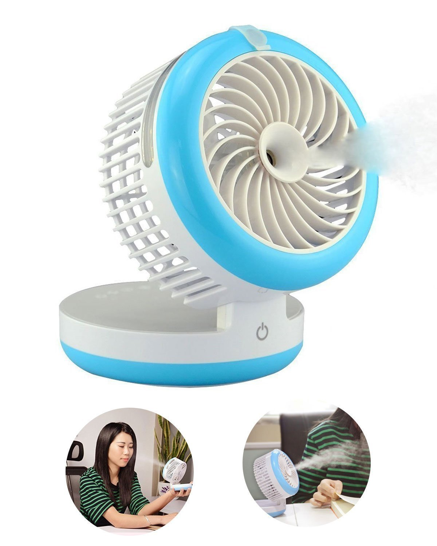 Mini Portable Fan, Portable USB Mini Table Fan with 2000mAh Power Bank For Portable Air Conditioning Fan, Humidifier Fan, Portable Water Spray Fan and Desktop Humidifier (Blue)