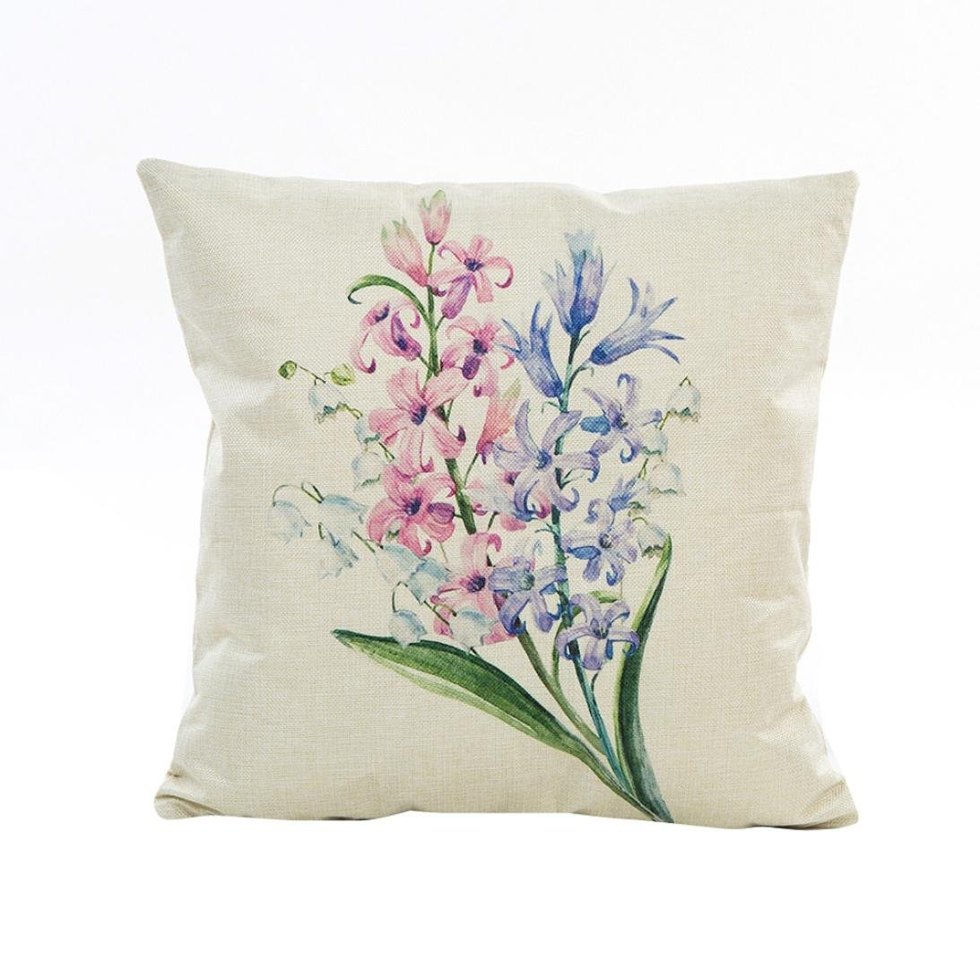 Lavany Pillow Cases, Pillow Covers Flowers Grass Pattern Pillowcases Cushion Sofa Home Decorative (B)