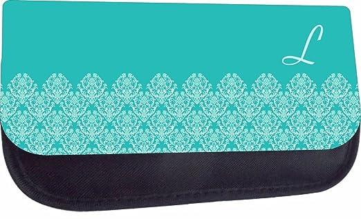 Customizable Medium Sized Cosmetic Case - Light Blue/Navy Damask Design