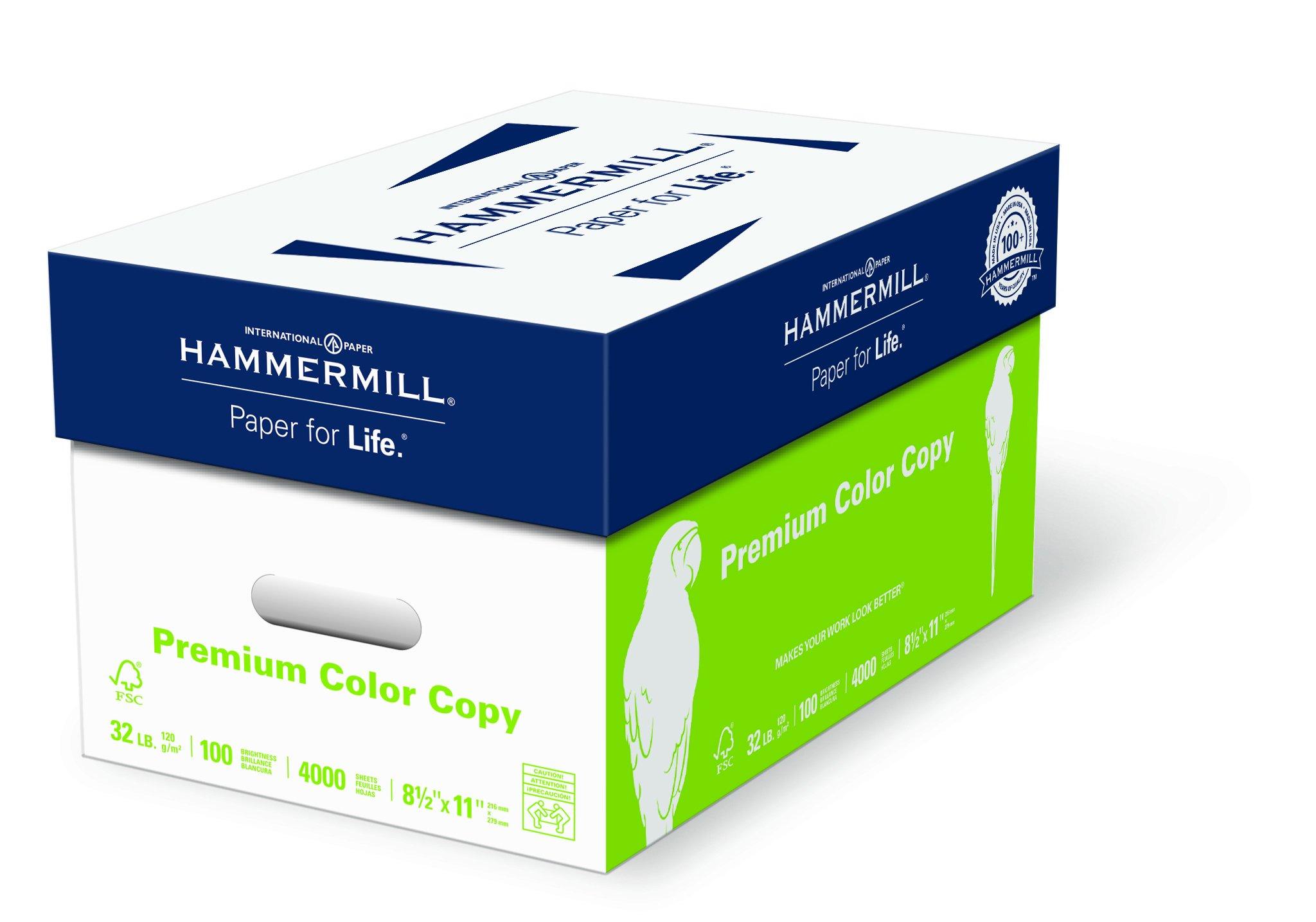 Hammermill Paper, Premium Color Copy Paper 8.5 x 11 Paper, Letter Size, 32lb Paper, 100 Bright, 8 Reams / 4000 Sheets (102630C) Acid Free Paper