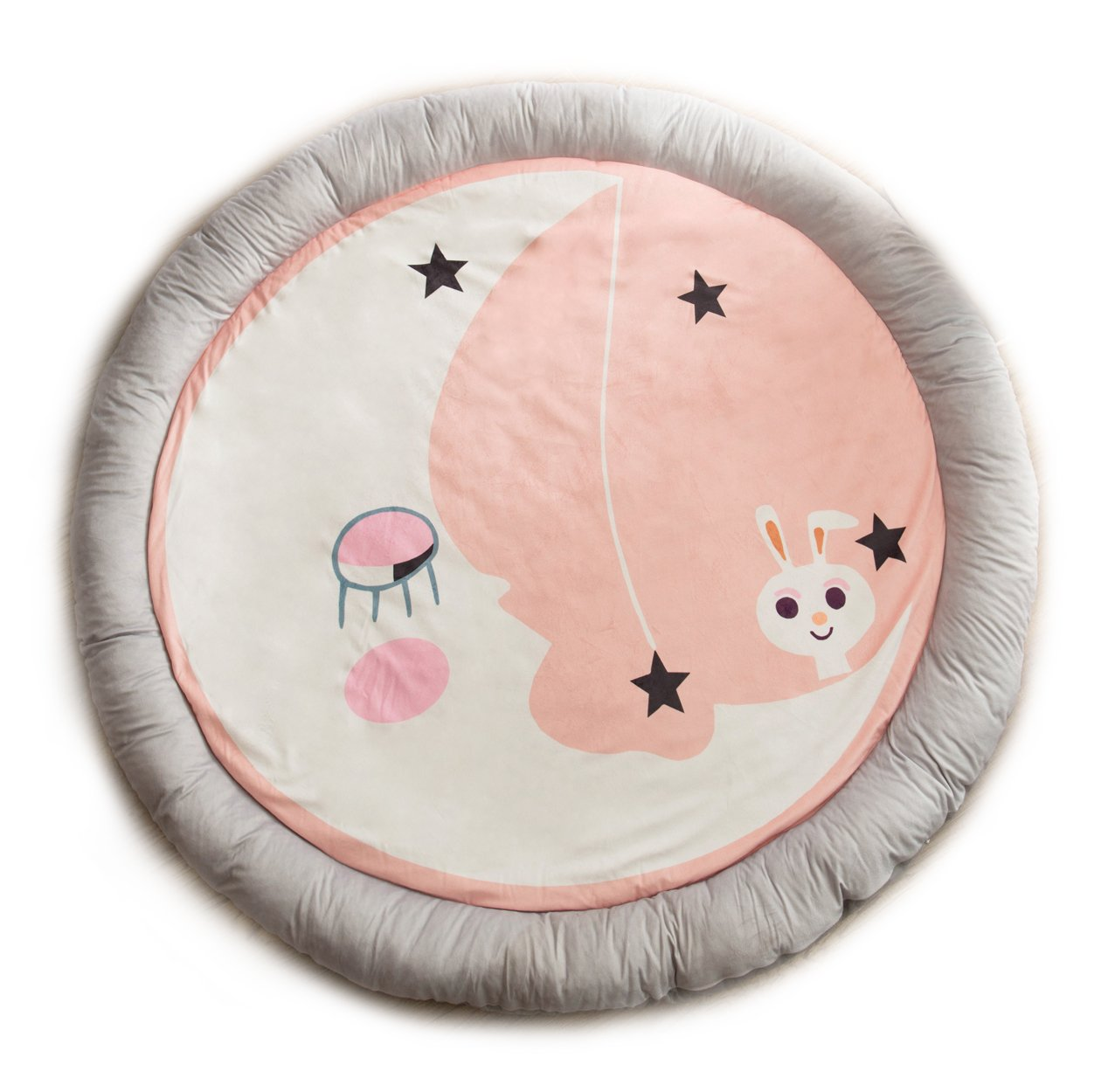 HugeHug Cartoon Soft Fenced Kids Play Mat Floor Area Rugs for Bed and Game Rooms, Reading Nook, Video Games or Watching TV, Thick Non-Toxic Softer Fluffy Round 60 inches for Babies Girls Boys(Rabbit)