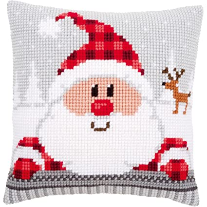 Amazon.com: Vervaco Santa in A Plaid Hat Cushion Cross ...