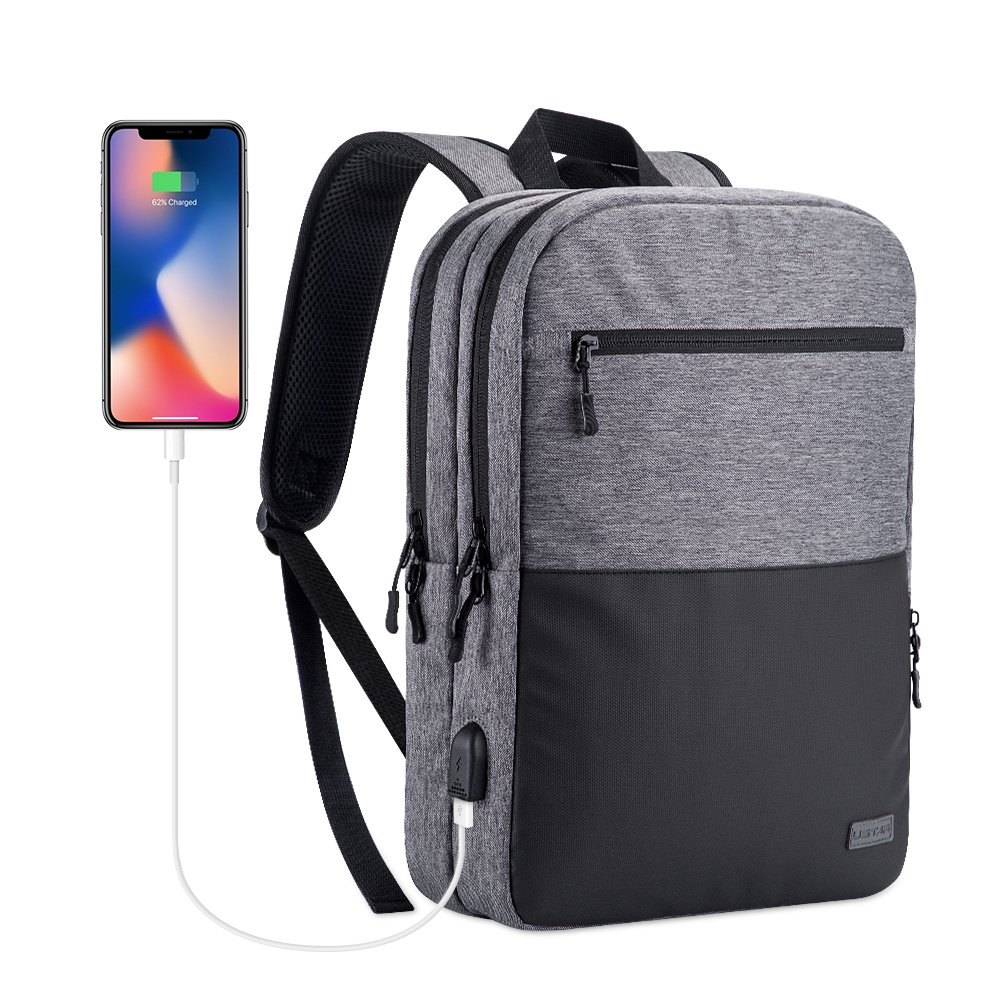 USTAR Slim Business Laptop Backpacks With USB Charging Port Water Resistant Daypack for Business College School Sports,Fits Under 14-Inch Laptop Notebook (Light Gray)