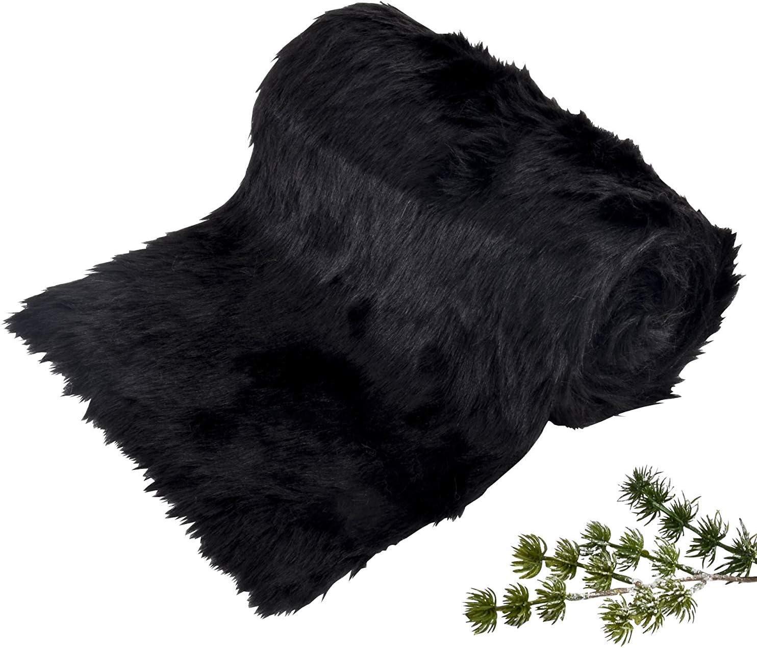 Schwarz Breite 20cm x L/änge 2m Living /& Lifestyle Fellband Tischband Kunstfell Xmas Weihnachten Dekoband Dekoration