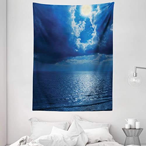 Ambesonne Ocean Tapestry, Romantic Full Moon Between Clouds Over a Quiet Dramatic Sea Tranquil Image, Wall Hanging for Bedroom Living Room Dorm, 60 X 80 , Navy Blue
