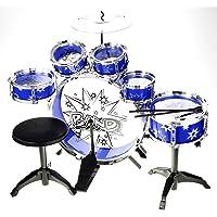 YMCtoys 11pc Kids Boy Girl Drum Set Musical Instrument Toy Playset BLUE