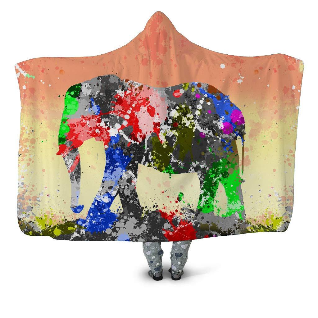 HHJJ Coperta con Cappuccio 3D con Cappuccio Coperta Animale con Motivo Sherpa Coperta Moderna con Cappuccio,PaintedElephant,Adults