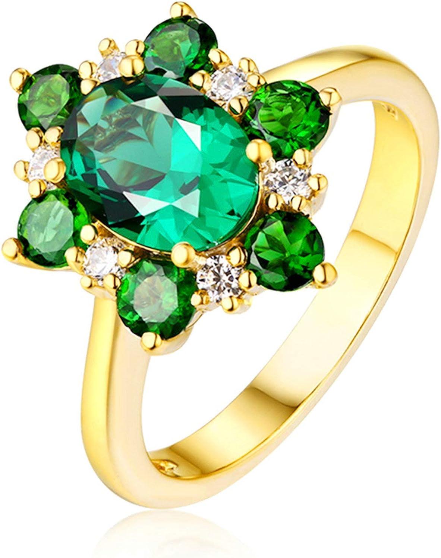 Daesar Anillo de Oro Amarillo para Mujer 18 K Flor con Oval Redondo Esmeralda Verde Blanca 1.67ct Talla 6,75-25