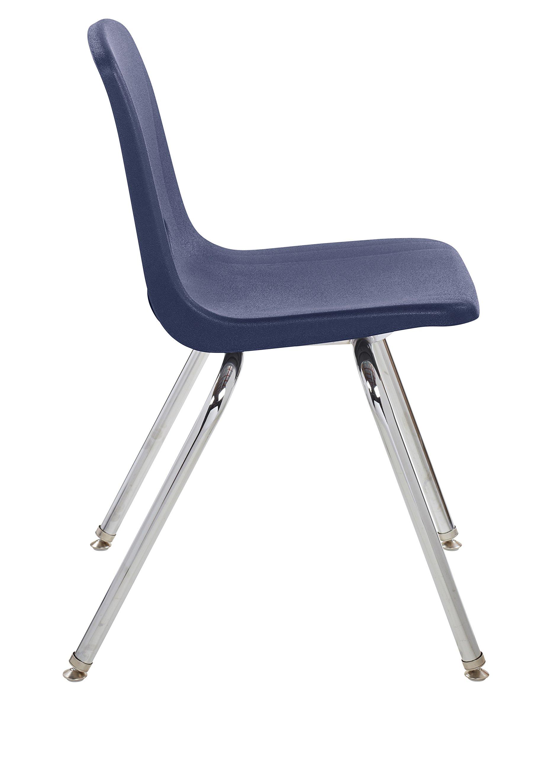 ECR4Kids 18'' School Stack Chair, Chrome Legs with Nylon Swivel Glides, Navy (5-Pack) by ECR4Kids (Image #3)