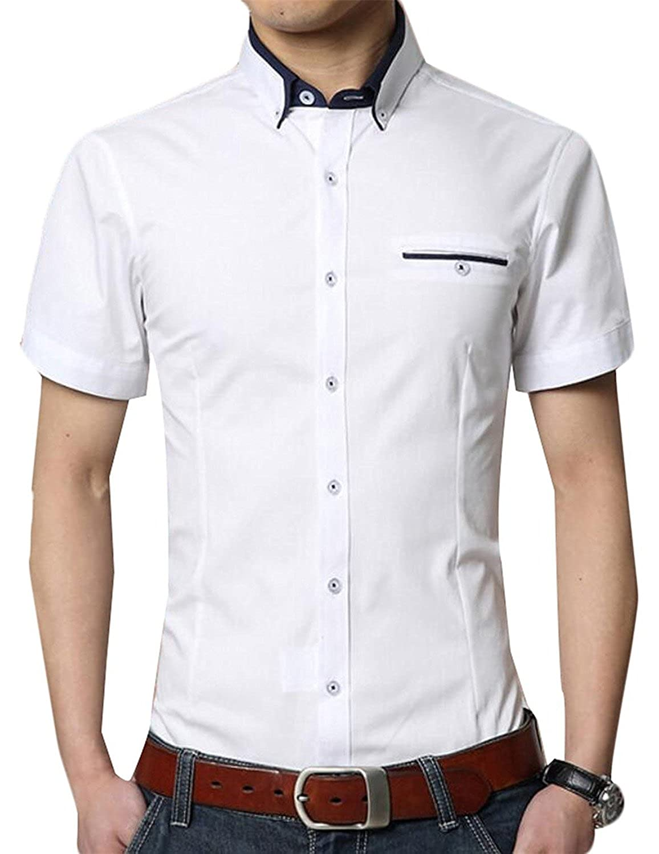 KDHJJOLY New Mens Fashion Mix Colors Slim Short Sleeve Button Down Shirts