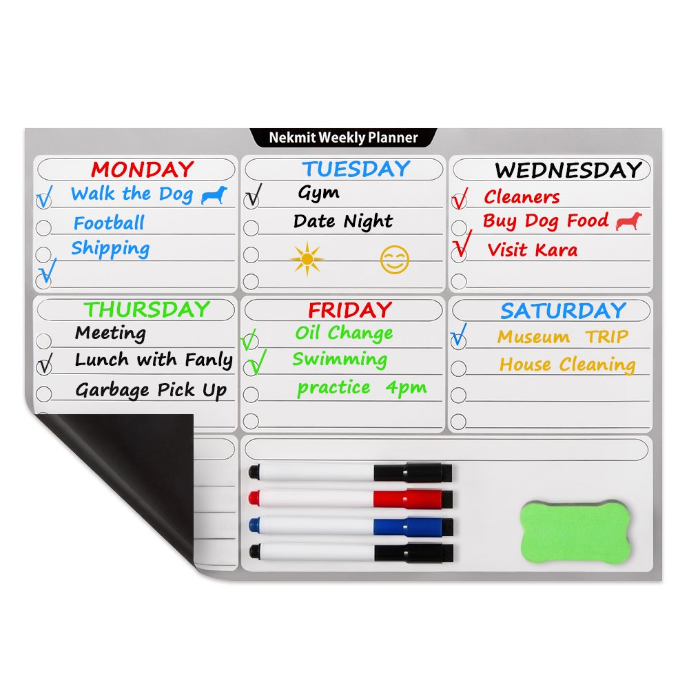 Clearance Sale! Nekmit Magnetic Dry Erase Board Weekly Planner for Refrigerator 16.5x11.8 Nekmit Compact