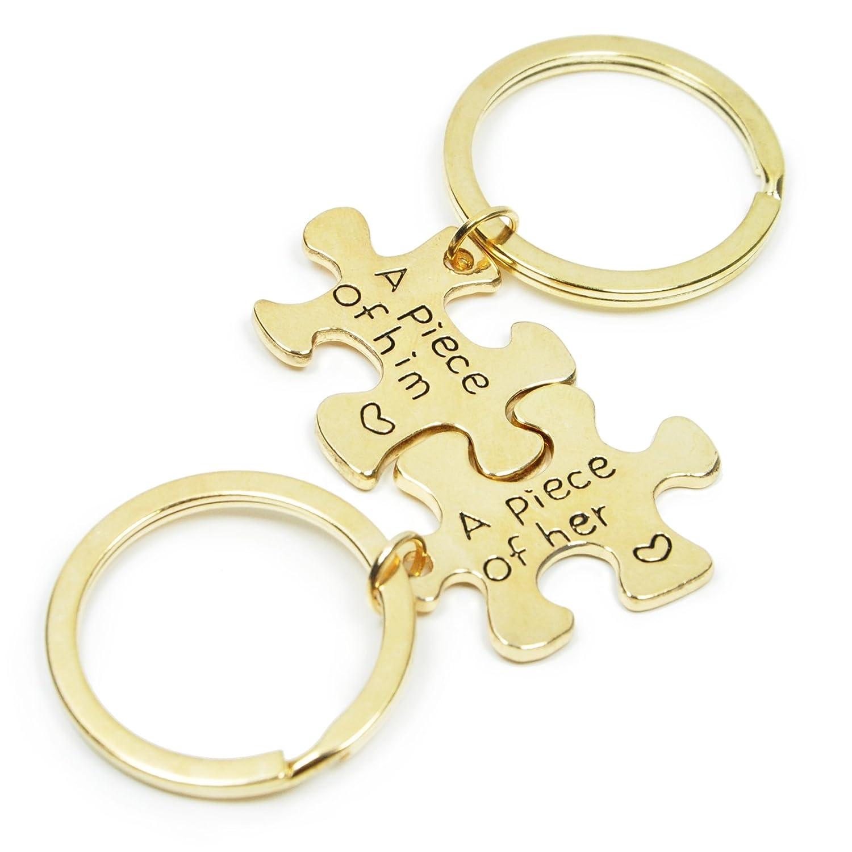 Lovers Keychain (Jigsaw Gold) Puzzle Piece Keychain Set