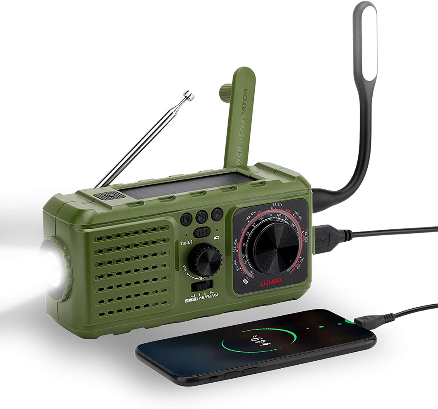 Emergency NOAA Radio Weather auto Alert and Portable AM FM MP3 Player,Solar Hand Crank Operated with 2200MAH Battery,USB Cell Phone Charger,Flashlight,Reading Lamp,SOS Alarm