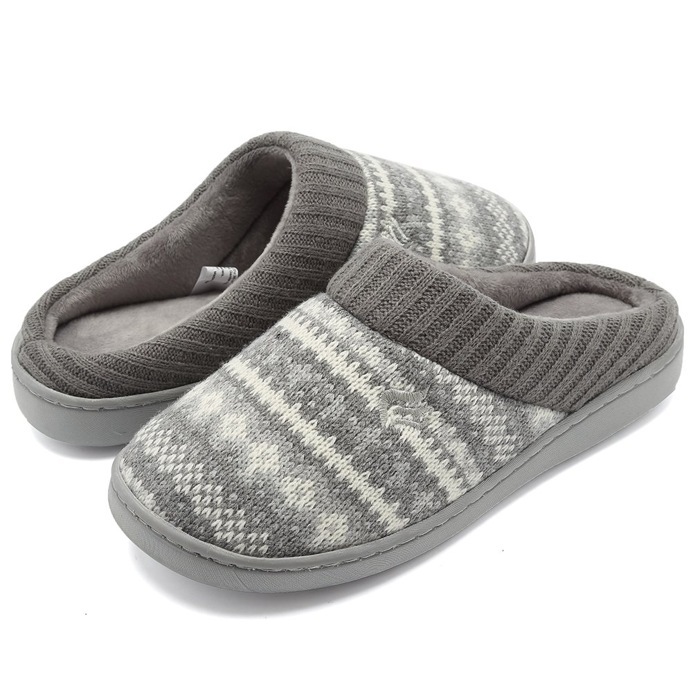 CIOR Fantiny Women's Memory Foam House Slippers Sweater Knit Embroidered Pattern and Ribbed Hand-Knit Collar-U1MTW014-Light Gray-40-41
