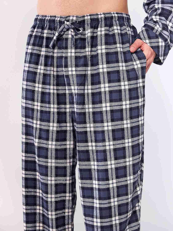 Soft Cotton Checked Sleepwear Lounge Pants SIORO Mens Flannel Pyjama Bottoms