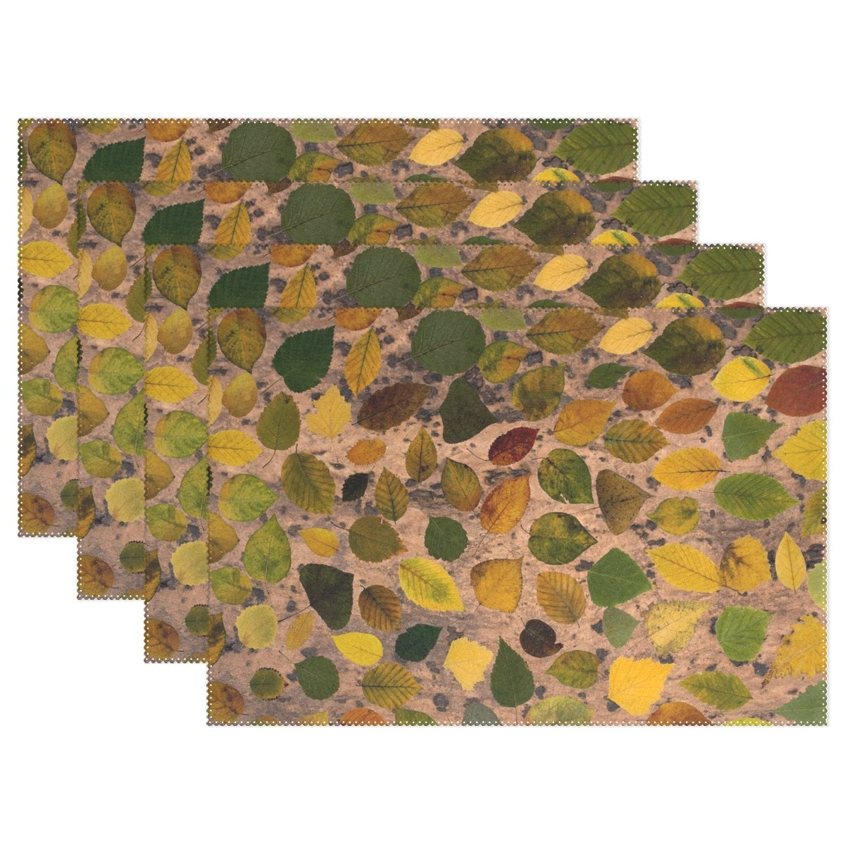 AIKENING Leafes Tree Leaves Colorful Composition Arrangement Placemats Set Of 4 Heat Insulation Stain Resistant For Dining Table Durable Non-slip Kitchen Table Place Mats