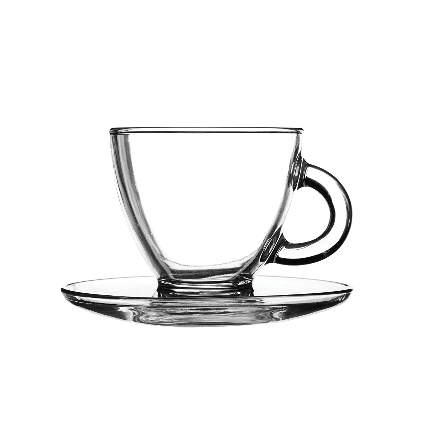 Glass espresso coffee cups uk - Entertain Cappuccino Cups Saucers 6 9oz 195ml Set Of 2 Glass Coffee Cups Coffee Glasses Amazon Co Uk Business Industry Science