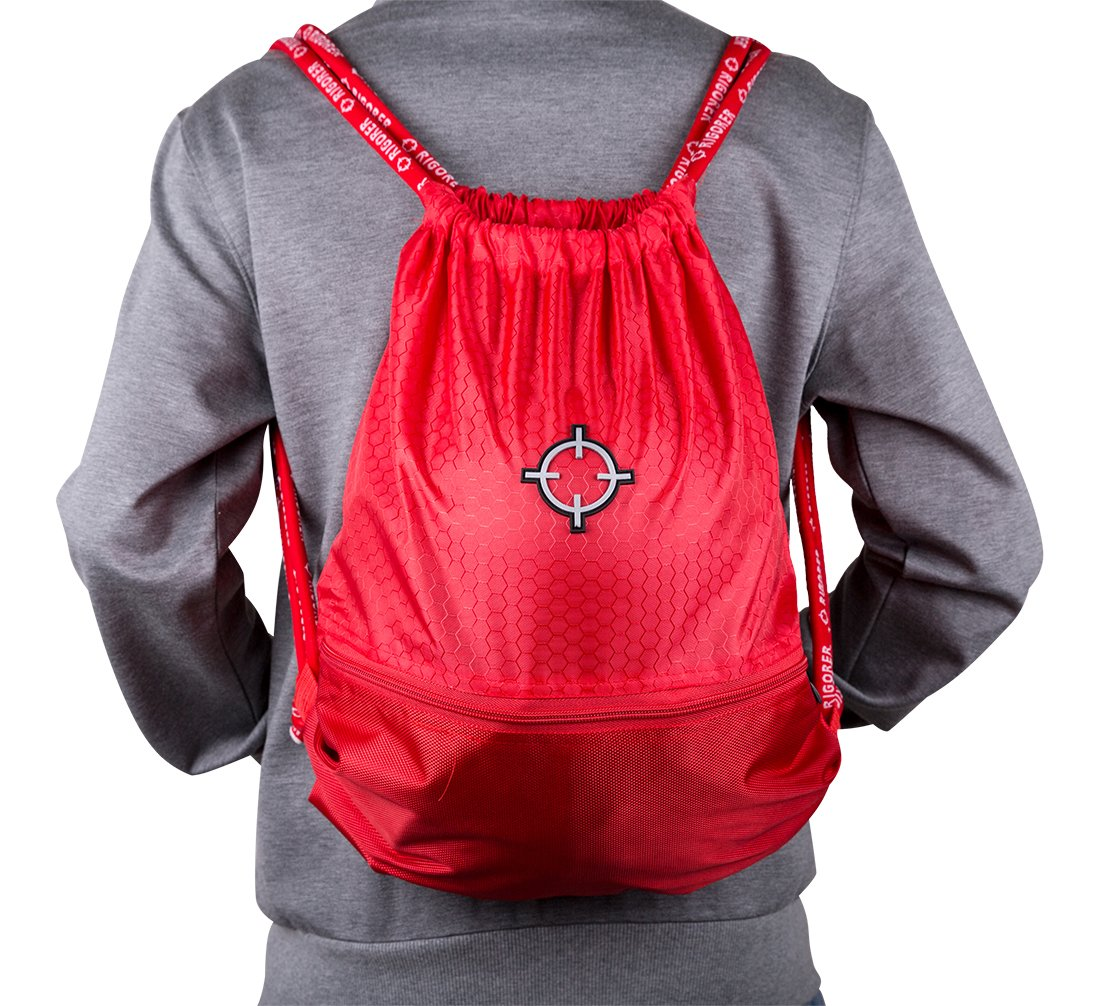 rigorerボール巾着バッグスポーツSackpack GymsackトレーニングバックパックCinch Bag B076F4TZY5 レッド レッド