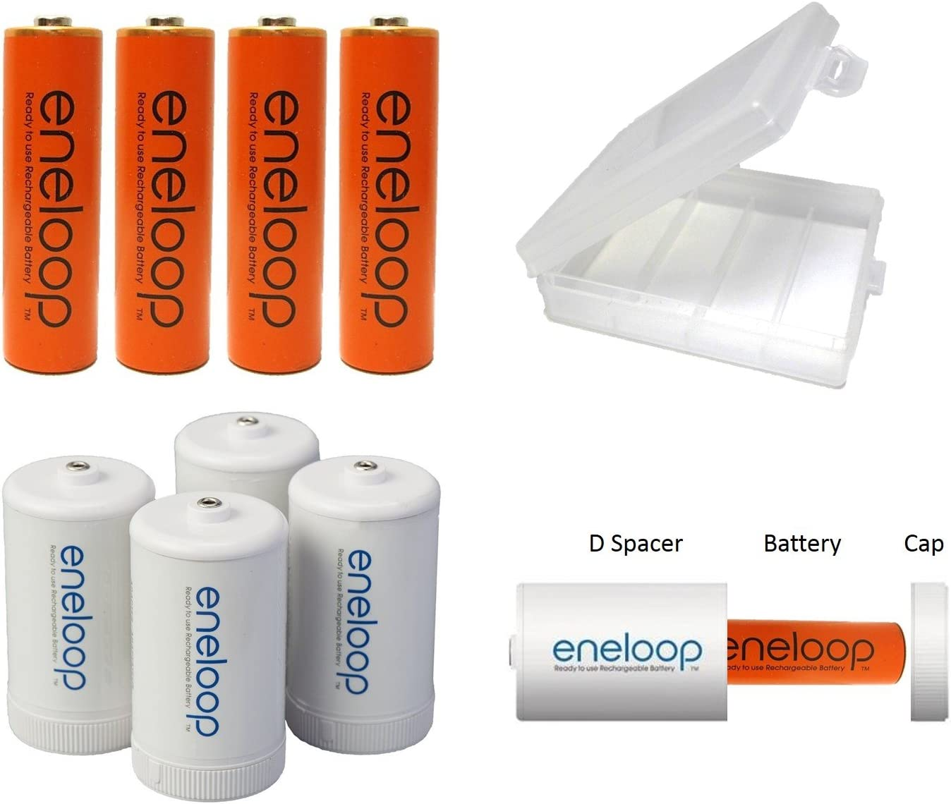 Plus AA Holder 4 Panasonic EneloopD Batteries for Flashlights and Other Devices Comprised of 4 AA NiMH Pre-Charged RechargeableOrange Batteries and 4D Spacers