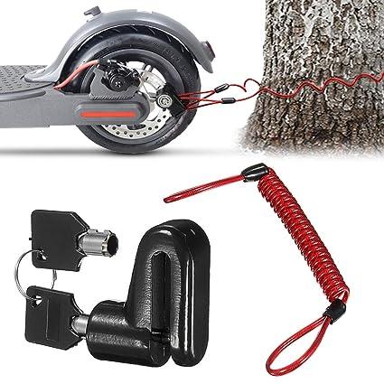 Scooter Eléctrico Cerradura del Freno de Disco Cerradura de Seguridad, Cerradura de Alambre de Acero Antirrobo para Xiaomi Mijia M365 Ruedas de ...