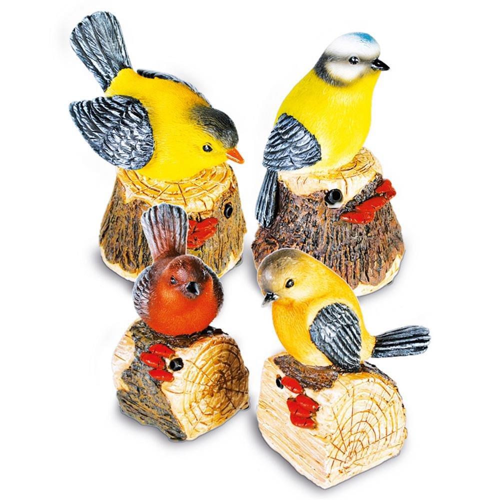 4 x HC-Handel 915999 Bewegungsmelder Vogel mit Vogelstimme Polyresin sortiert 10 cm