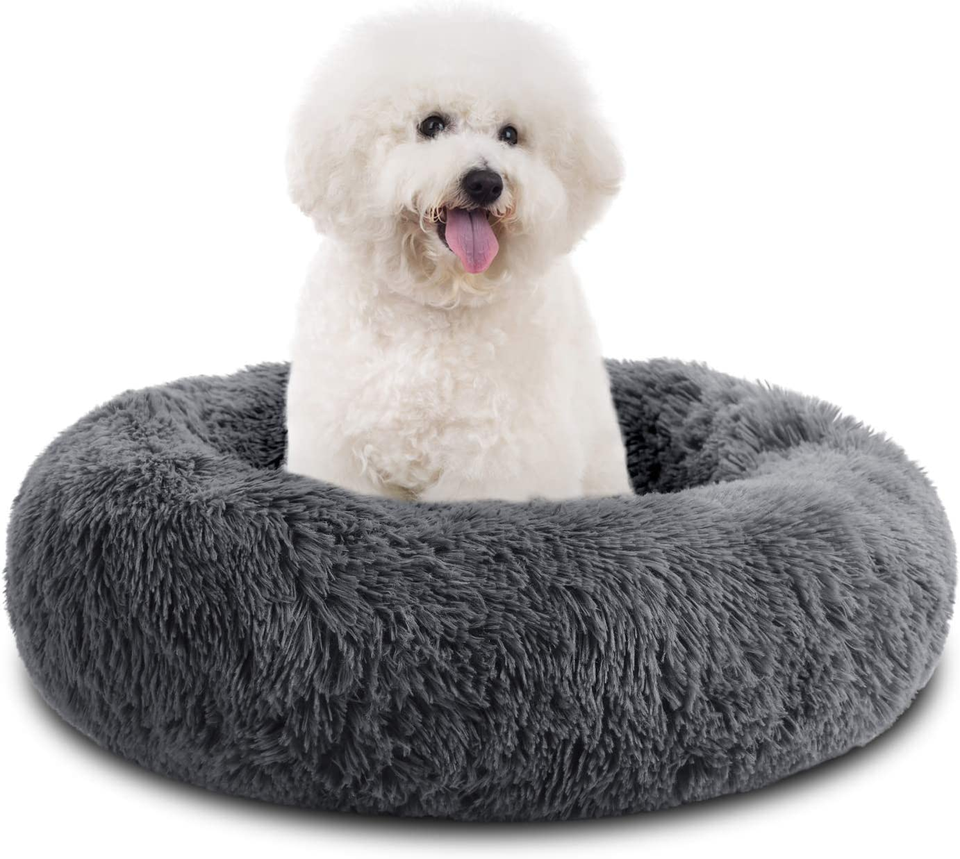 ESOEM Donut Pet Bed, Round Plush Cushion for Small Pets, Pluffy Mat Dog Sofa, Comfy Indoor Cat House Self-Warming Bedding