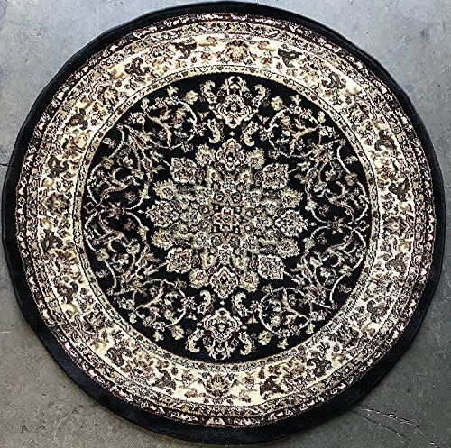 Traditional Round Persian Oriental Area Rug Black Design 603 (5 Feet 3 Inch X 5 Feet 3 Inch) - Black Persian Carpet