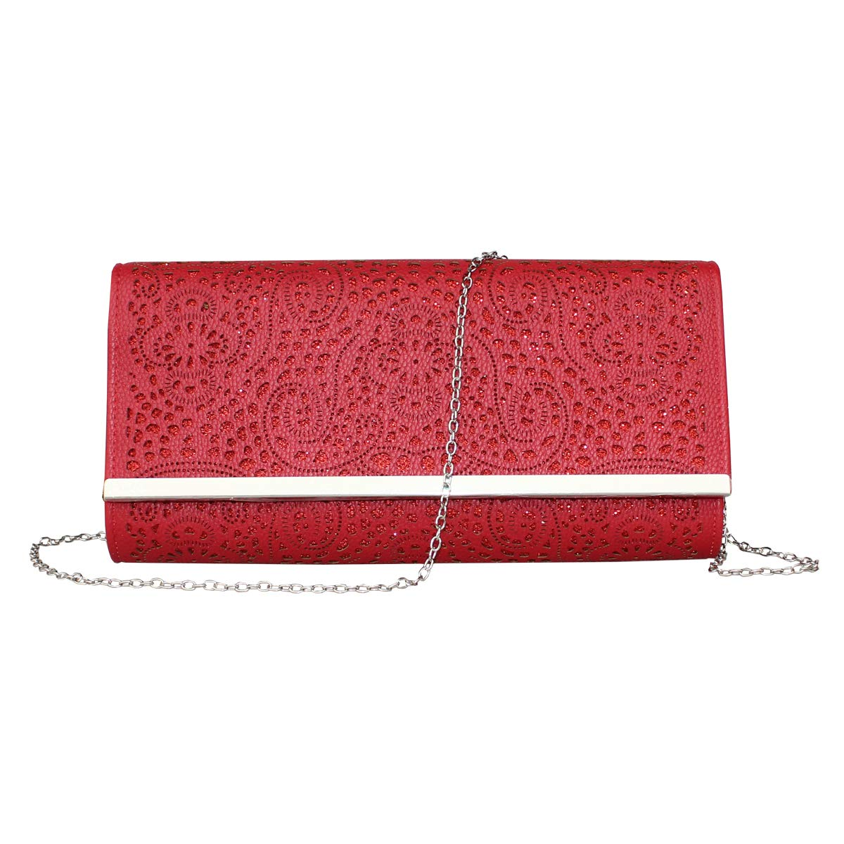 Womens Faux Leather Envelope Clutch Bag Evening Handbag Shouder Bag With Chain Strap. (red-1)