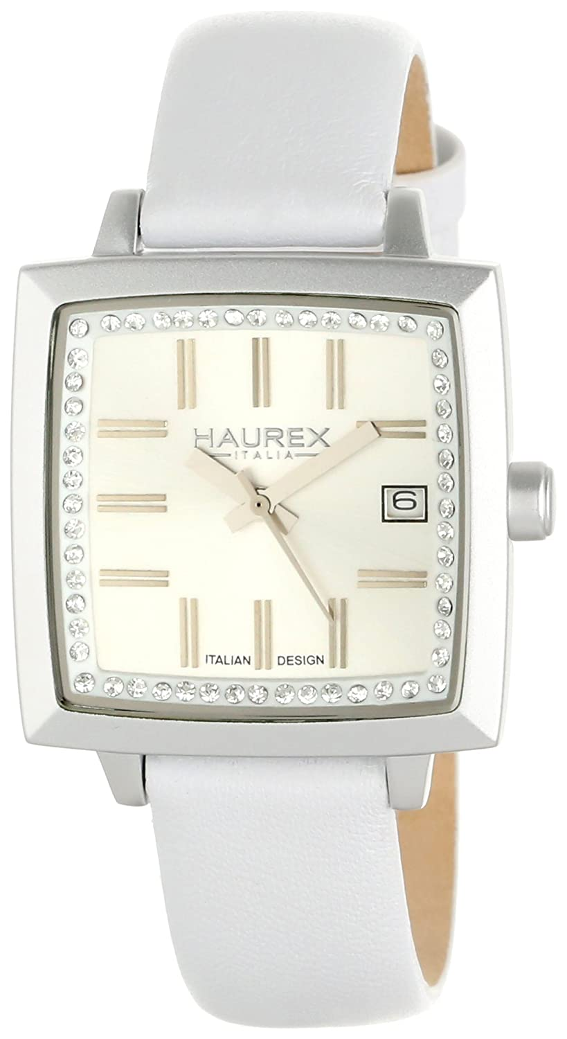 Haurex Italy Women s FK380DS1 Compact W Square White Leather Watch