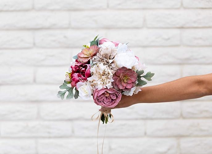 Amazon Silk Flower Bouquet Bridal Wedding Antique Mauve Dusty