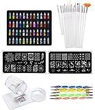 Store2508 Combo of 3D Nail Art, Nail Stamping Image Plates, Silicone Stamper, Brush Set, Nail Dotting Tool