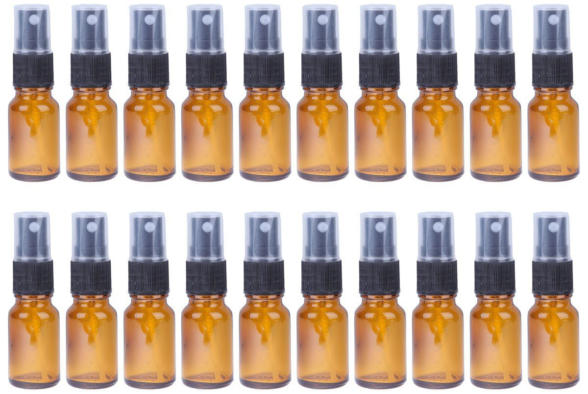Fine Mist Mini Spray Bottles with Atomizer Pumps - Amber