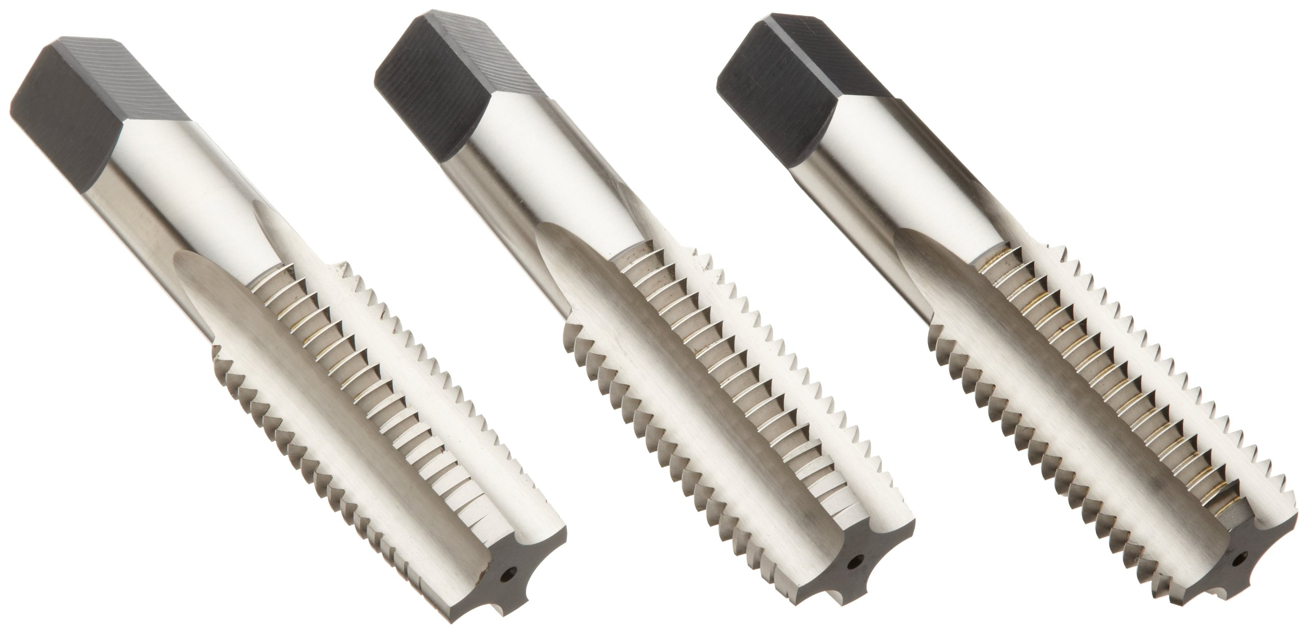 Union Butterfield 1500S(UNF) High-Speed Steel Hand Tap Set, Uncoated (Bright) Finish, Round Shank With Square End, 3-Piece (1 Taper, 1 Plug, 1 Bottoming Chamfer), 1/4''-28 Thread Size