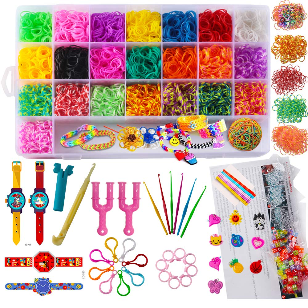 9,900+ Rainbow Rubber Bands Refill Kit, 9,000+ Loom Bands, 150 S-Clips, 100 ABC Beads, 10 Charms, 8 Backpack Hooks, 10 Ring, 6 Small Crochet Hooks, 1 Big Crochet Hooks,10 Hair Clips, 4 Tattoo Sticker
