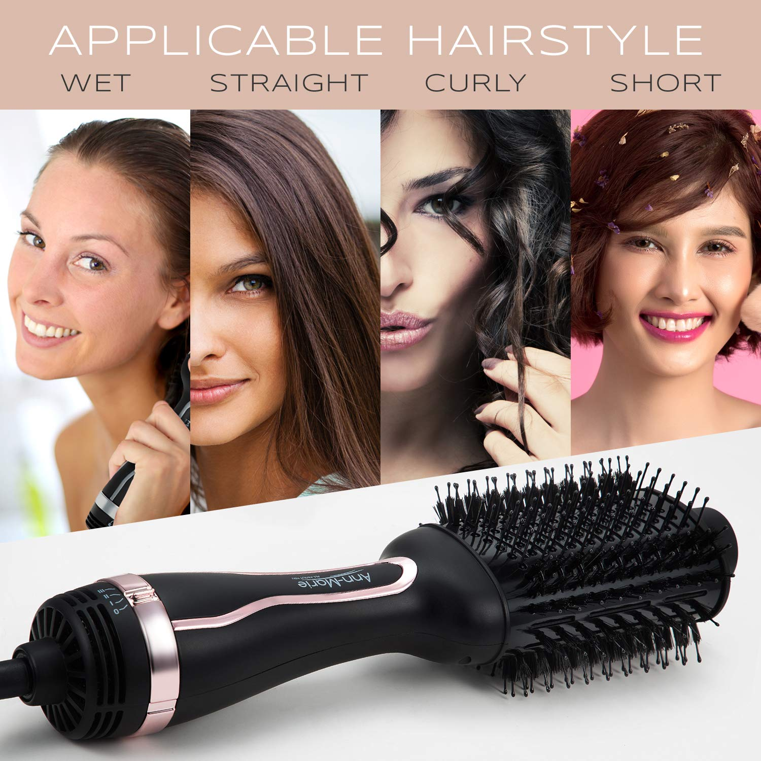 Hair Dryer Brush One Step Hot Air Brush and Volumizer blow dryers Negative Ions Hair Brush Dryer Straightener Styler