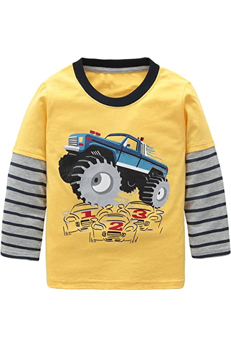 Boys T-Shirt Long Sleeve JCB Digger Truck Dig It Cotton Tee Top 1 to 6 Years