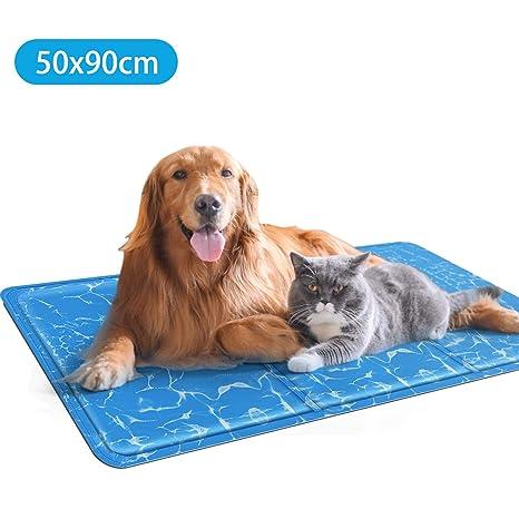 Nobleza – Alfombrilla refrescante para Mascotas Grandes. Auto refrigerante No tóxico. Ideal para para Perros, Gatos en Verano. 90 * 50 cm, Color Azul, ...