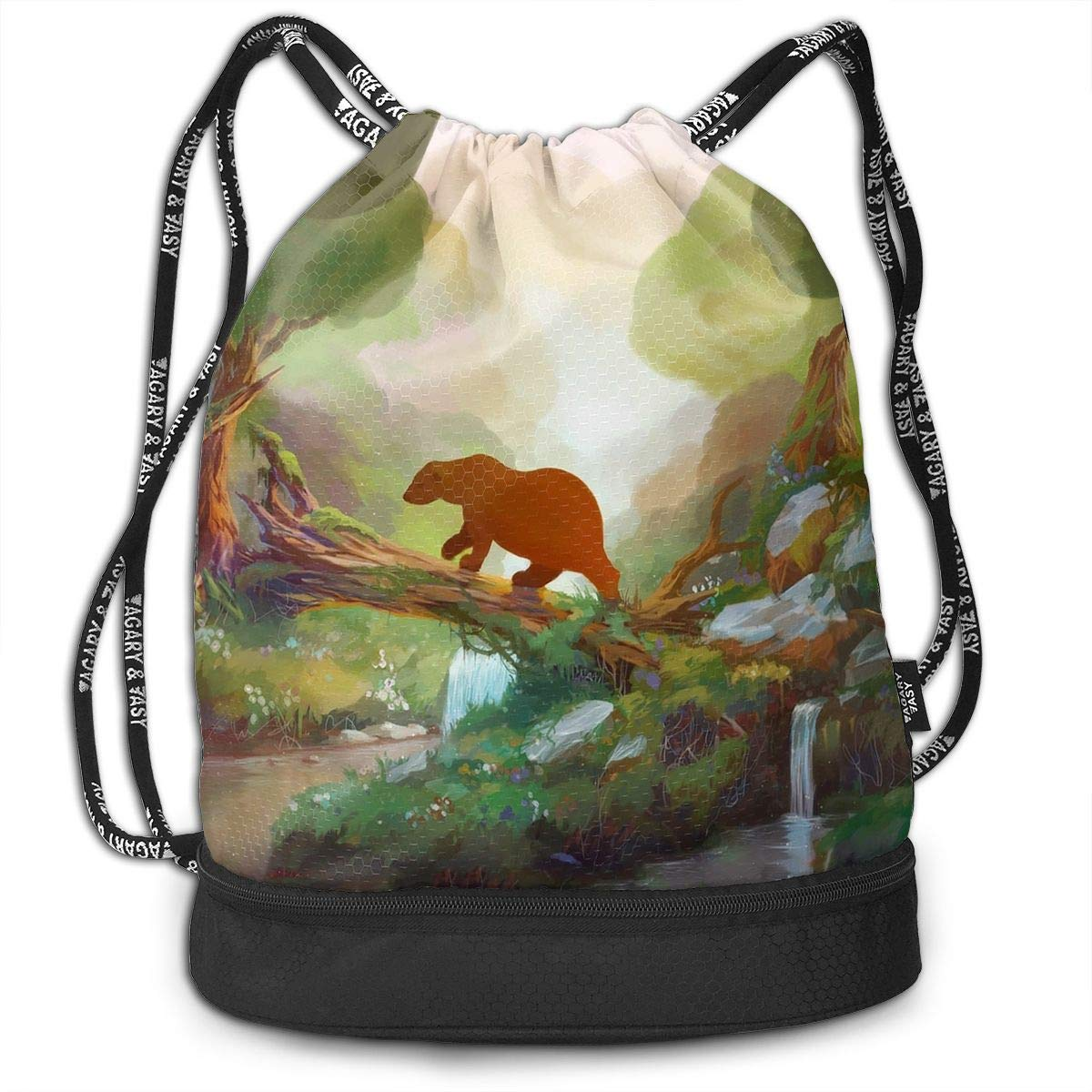Address Verb Drawstring Backpack with Pocket Multifunctional Sturdy Bear Forest Sackpack Sports Gym Shoulder String Bags by Address Verb