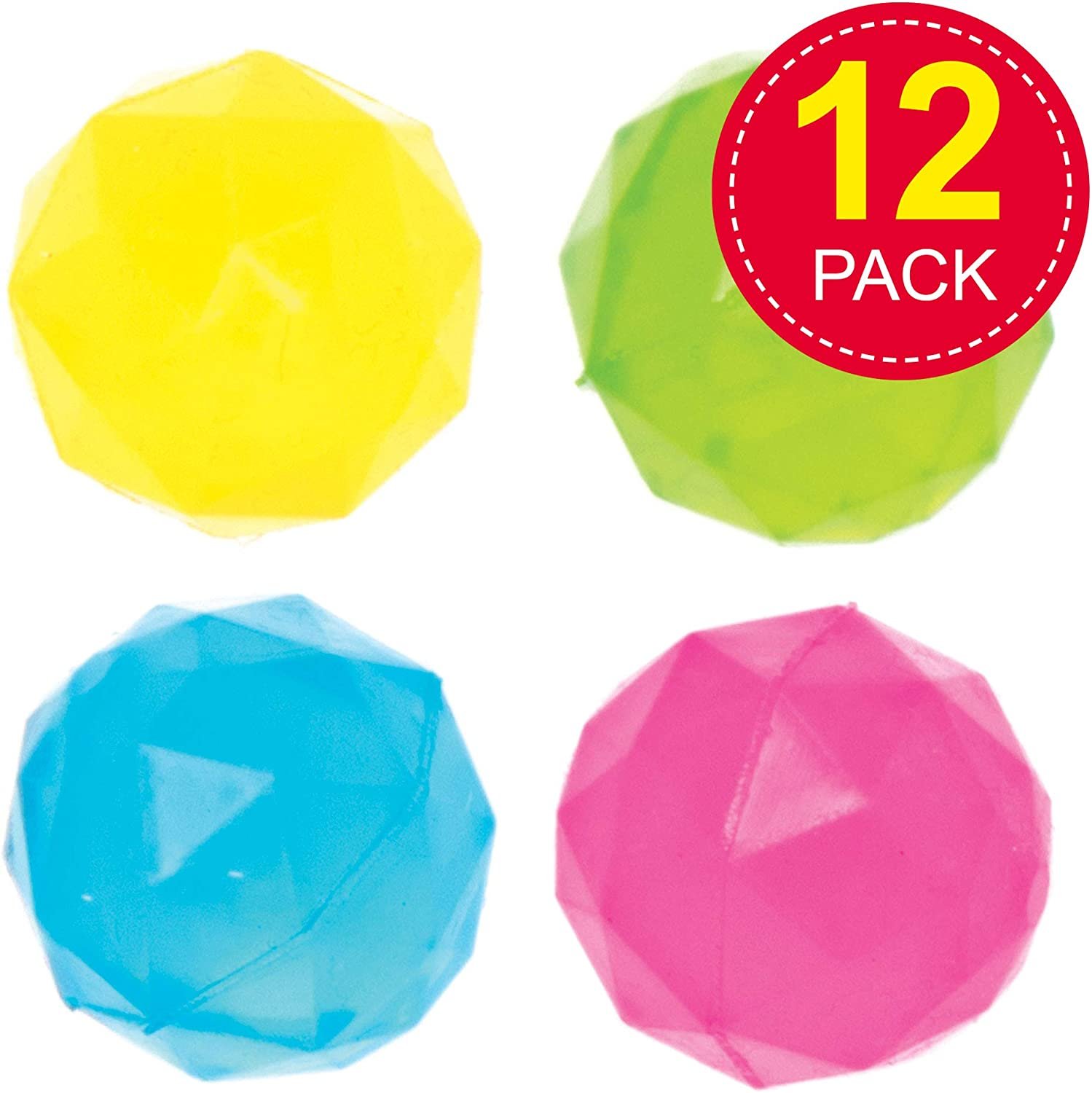 Ideal for Kids Party Favors and Goodie Bags Great Small Gifts for Children Outdoor Toys Pack of 12 Baker Ross Diamond Bouncy Balls