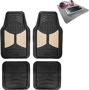 TLH Monster Eye Car Floor Mats Full Set Universal Fit, Beige Color w/Non Slip Dash Pad