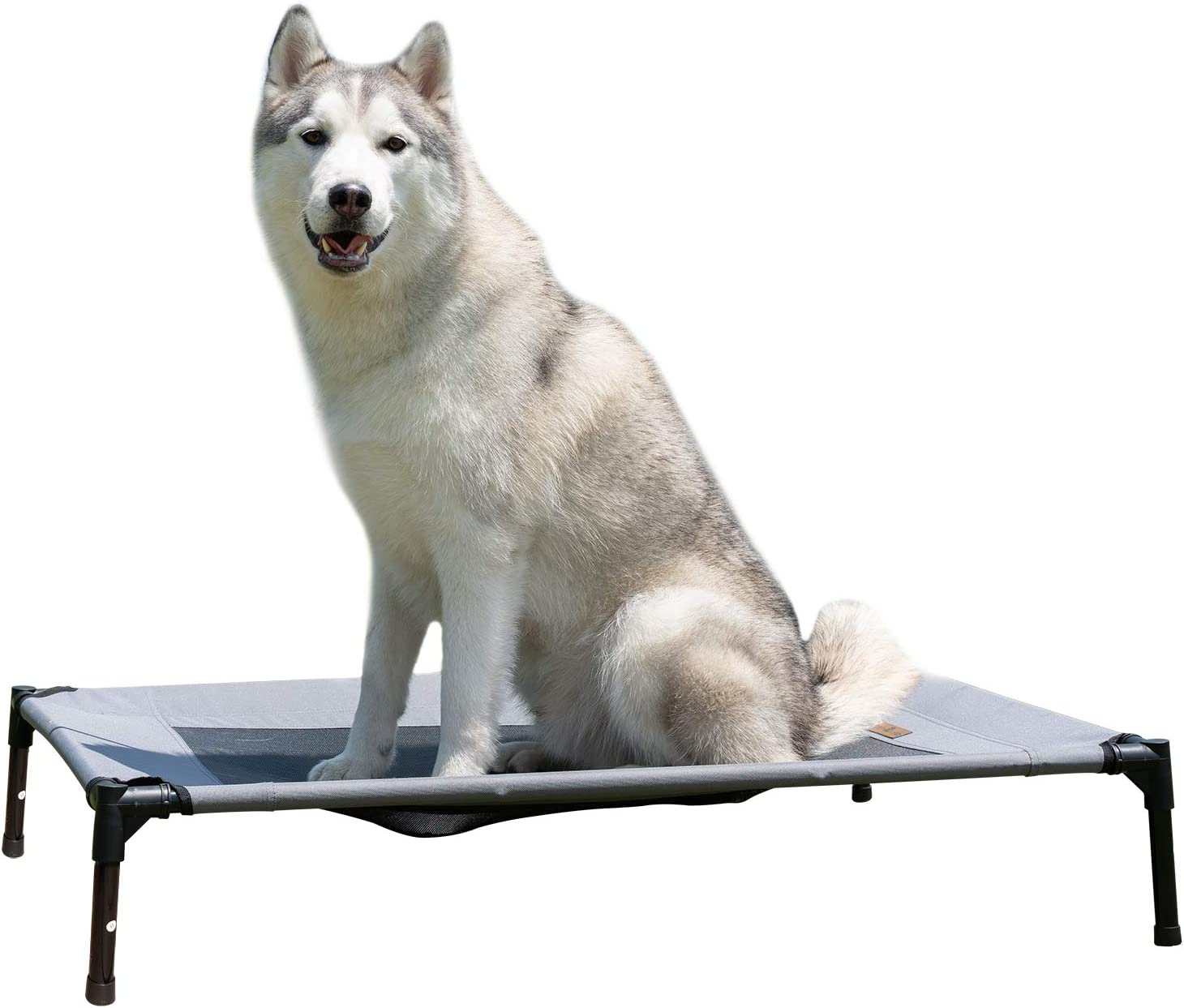 YEPHHO Detachable Elevated Dog Bed Oxford Cloth No-Slip Cool Breathable Durable Pet Bed for Indoor Outdoor 32.2inch x25.3inch x8.4inch Grey