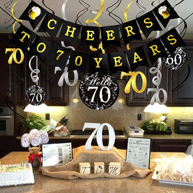 Howaf Decoración Cumpleaños 70 Años Kit, Negro y Dorado ...