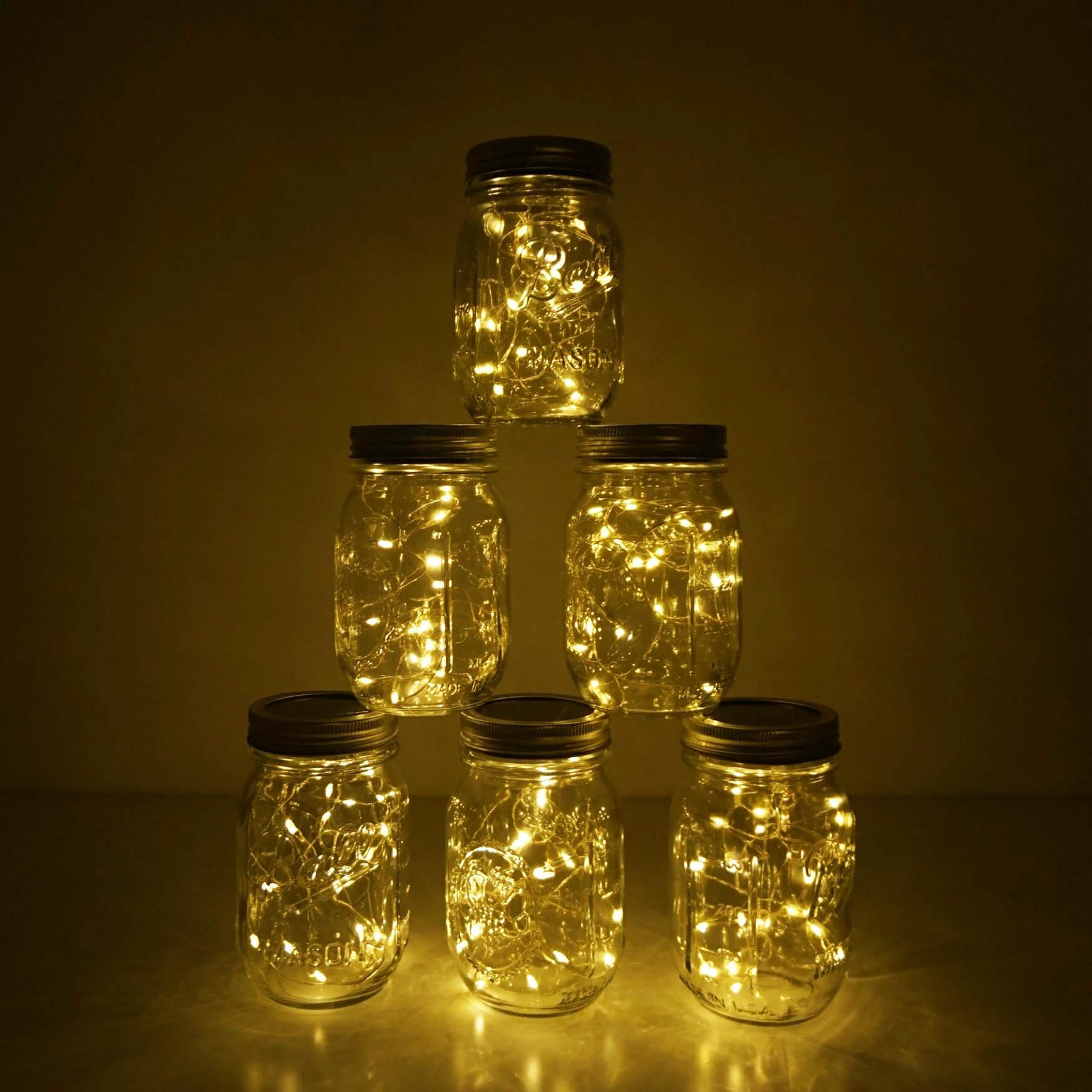 6 Pack Mason Jar Lights 10 LED Solar Warm White Fairy String Lights Lids Insert for Patio Yard Garden Party Wedding Christmas Decorative Lighting Fit for Regular Mouth Jars(Jars Not Included) by Decem (Image #6)