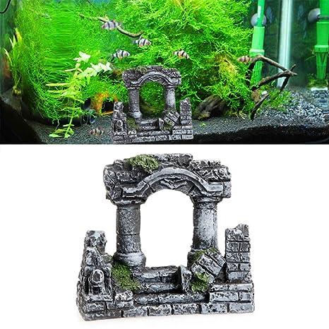 Hinmay Resina Roma piedra cuadrada pilar acuario paisaje pecera Decor bicolino tri-columnas